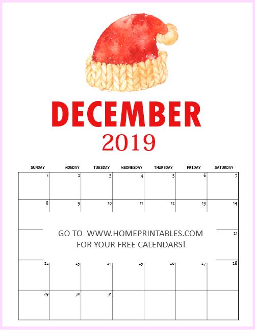 December 2019 Christmas Calendar Free Printable