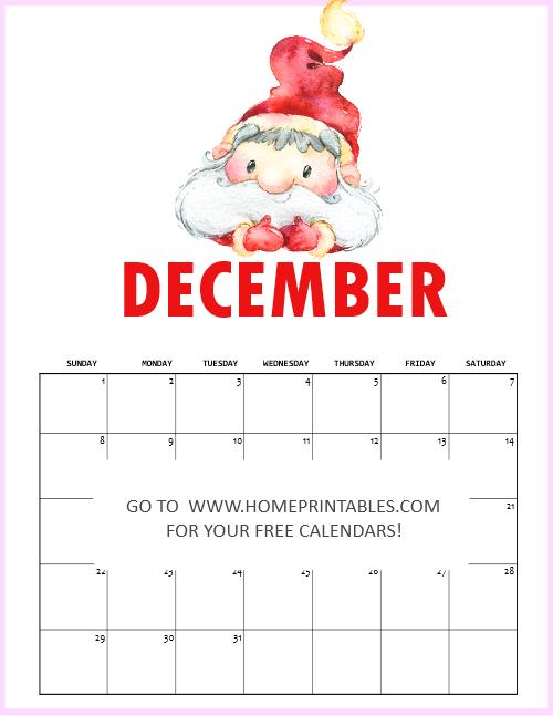 December 2019 Christmas Calendar Printable