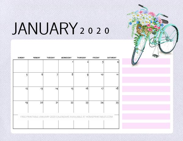 January 2020 calendar printables