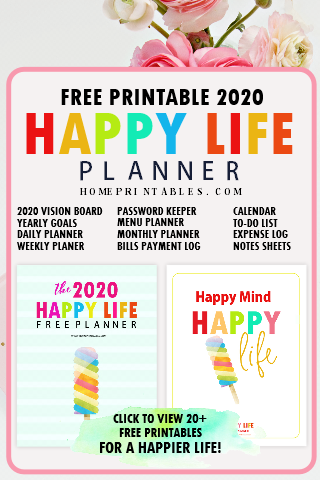 Happy Life Planner: The BEST Free Printable 2020 Planner in PDF on home management printables, home organization printables, home notebook printables, organized christmas printables, home project printables, outdoors printables, home organizer printables, home business printables, blog planning printables,