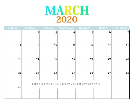 March 2020 Calendar free printable