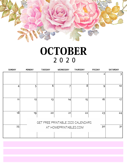 October calendar 2020