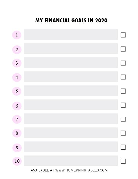 financial goals 2020