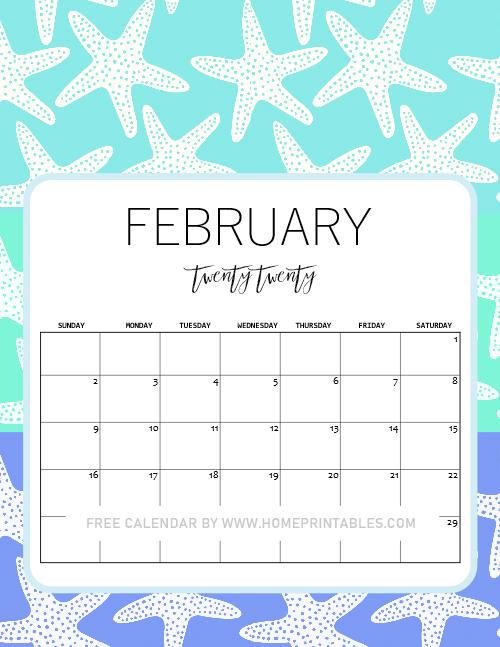 cute free printable February 2020 Calendar