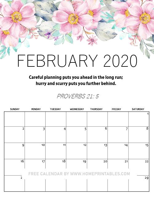 February 2020 calendar free printables