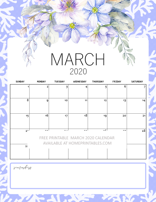 March 2020 calendar floral