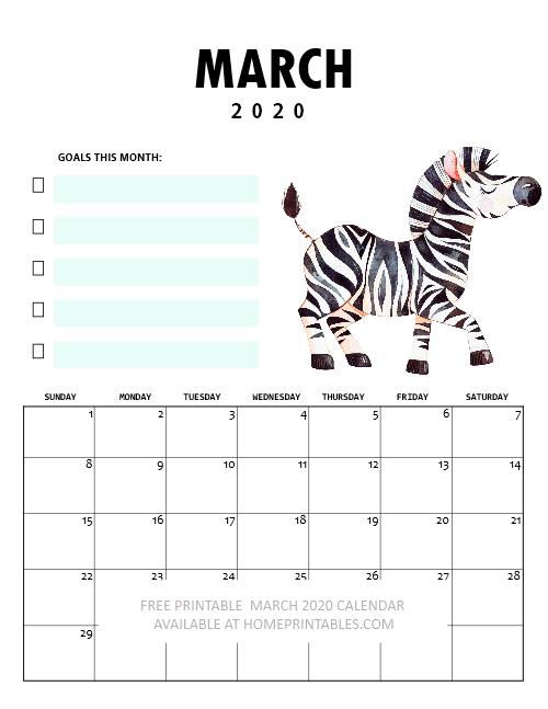 March 2020 calendar kids