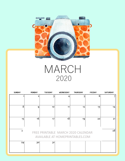 printable March 2020 calendar kids