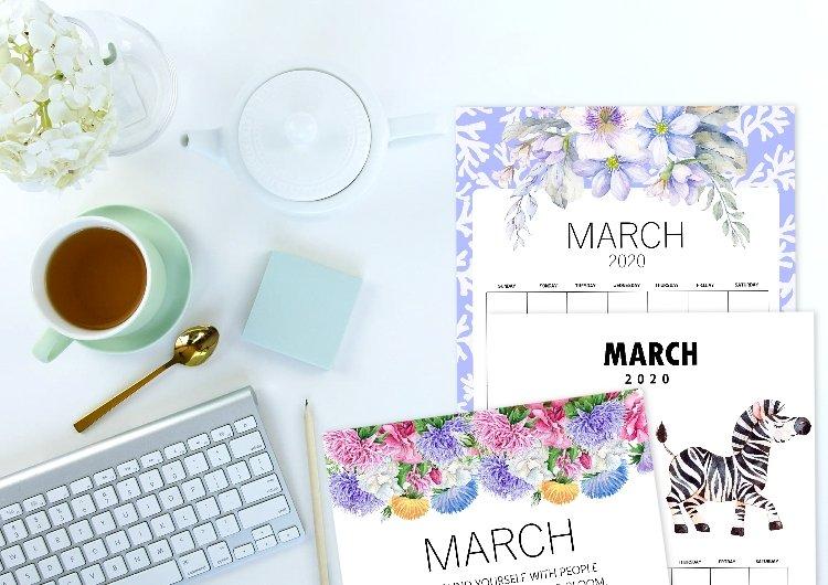 March 2020 calendar printables