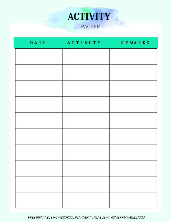 Activity Tracker Printable
