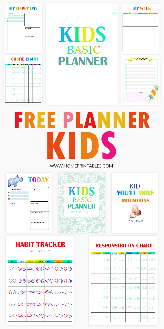 free printable kids planner