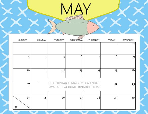 kids May 2020 calendar