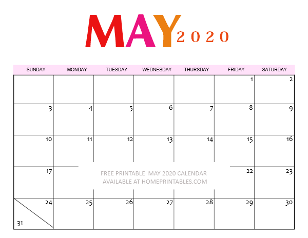 free printable May 2020 calendar template