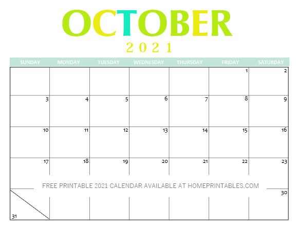 October 2021 Calendar Printable PDF