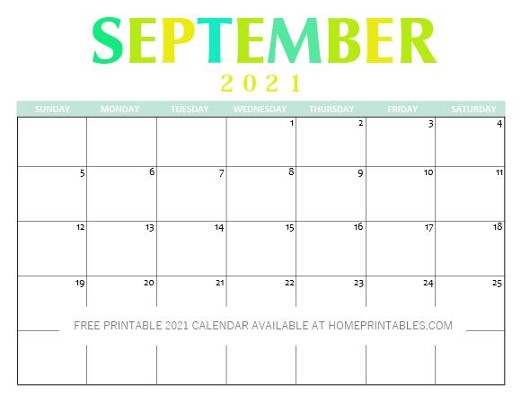 free printable September 2021 Calendar