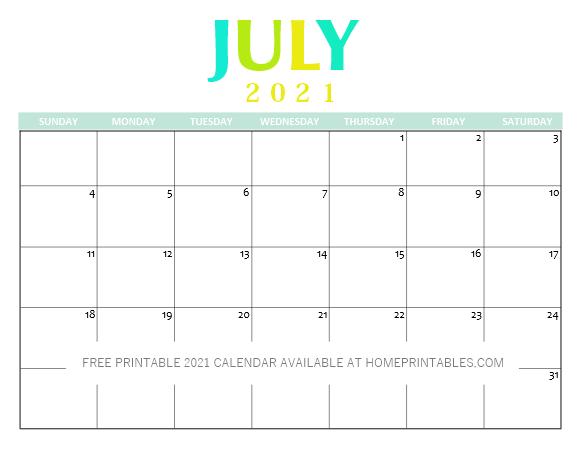 Free Printable July 2021 CalendarPDF
