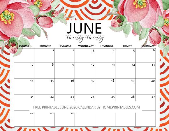 June calendar 2020