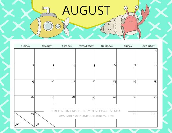 August 2020 Calendar school calendar for kids