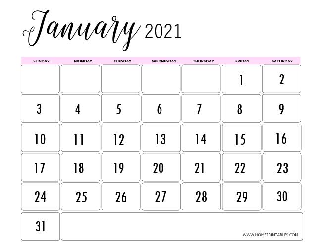 pretty January calendar 2021
