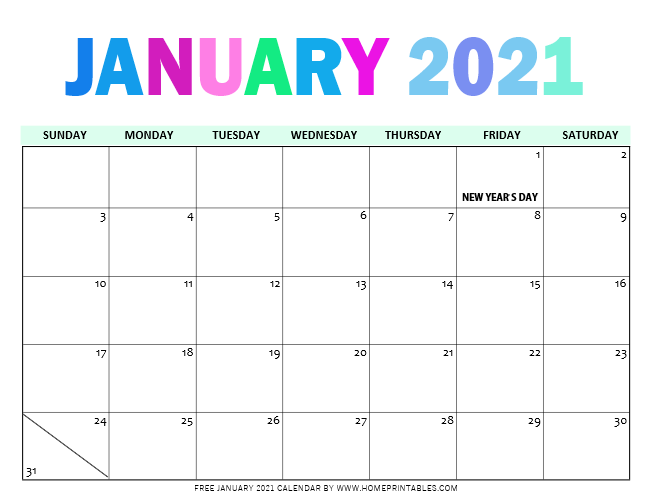 January 2021 Calendar for Instant Download - Home Printables