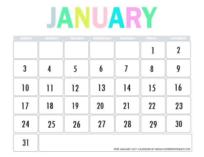 Instant Download January 2021 Calendar / January 2021 ...