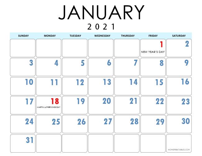 January 2021 calendar US
