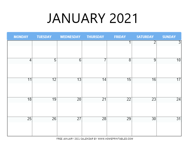 January calendar 2021 free printable