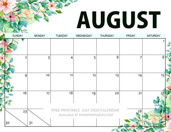 August 2020 Calendar printable free