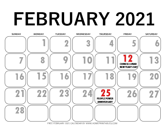 February 2021 calendar with Philippine holidays
