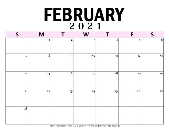 February 2021 calendar PDF