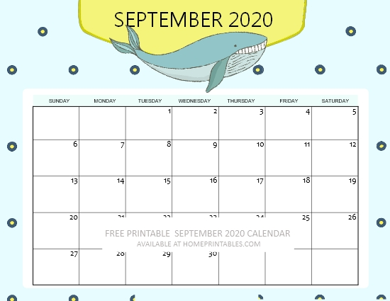 free printable September 2020 calendar for kids