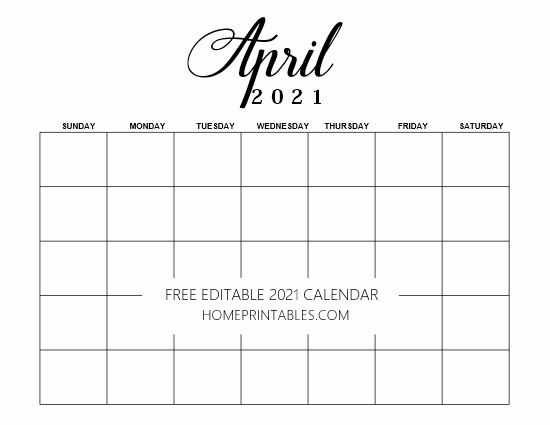 2021 editable calendar template April
