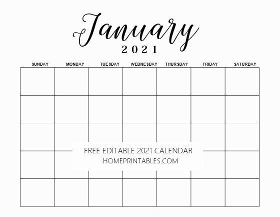 January 2021 editable calendar