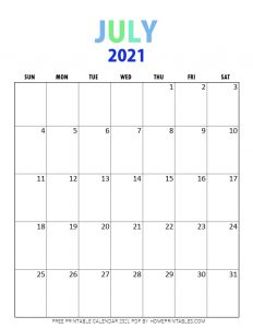 July 2021 calendar pdf printable