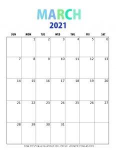 free printable March 2021 calendar pdf