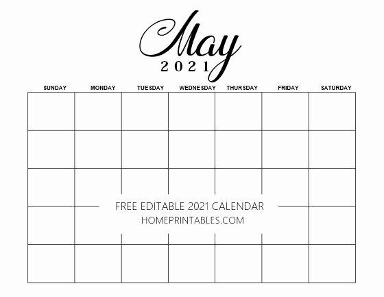 May 2021 editable calendar