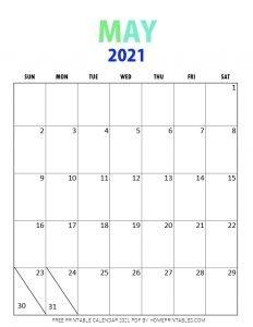 May 2021 calendar pdf printable