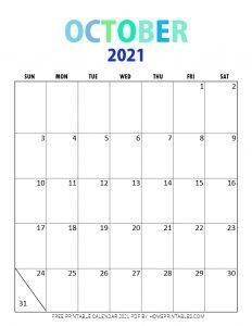 October 2021 calendar pdf printable