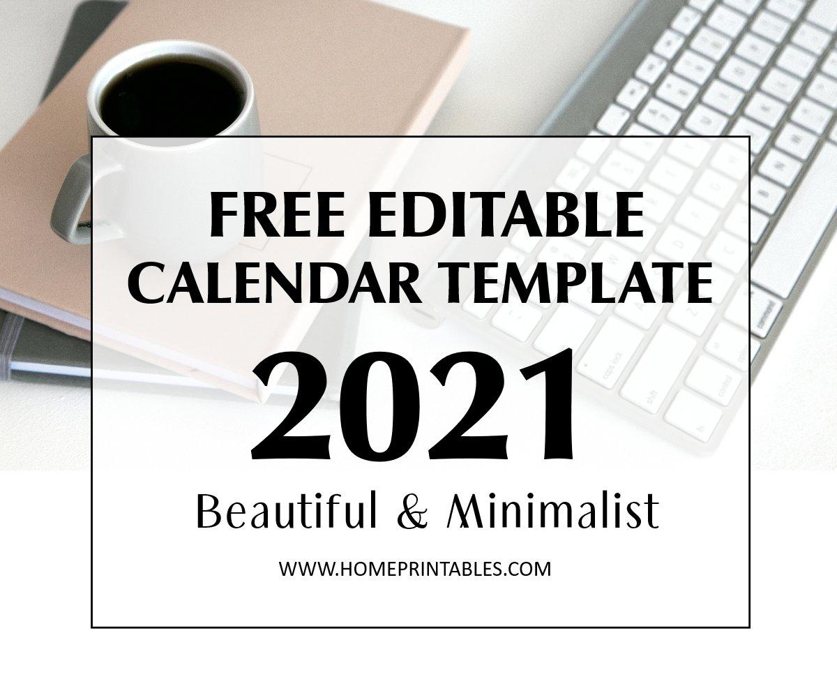 editable calendar 2021 template in Microsoft Word