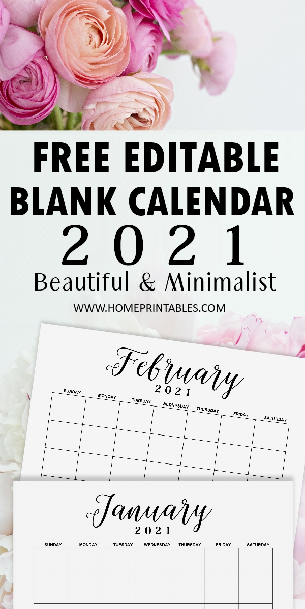 editable calendar 2021 template