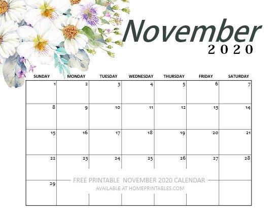 November calendar 2020 free printable