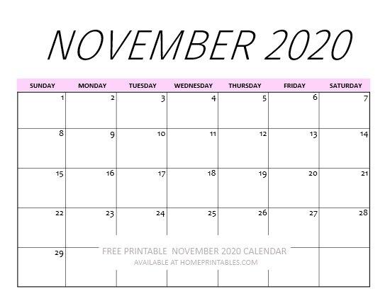 printable November calendar 2020