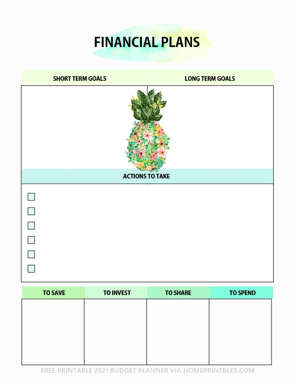 financial planner free printable template