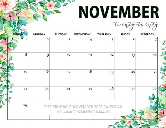 free primtable November 2020 calendar