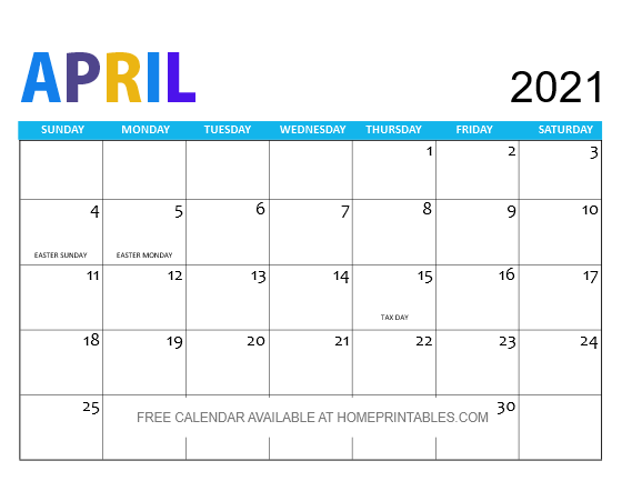 April 2021 calendar free printable