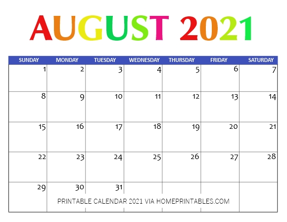 Free August Calendar 2021