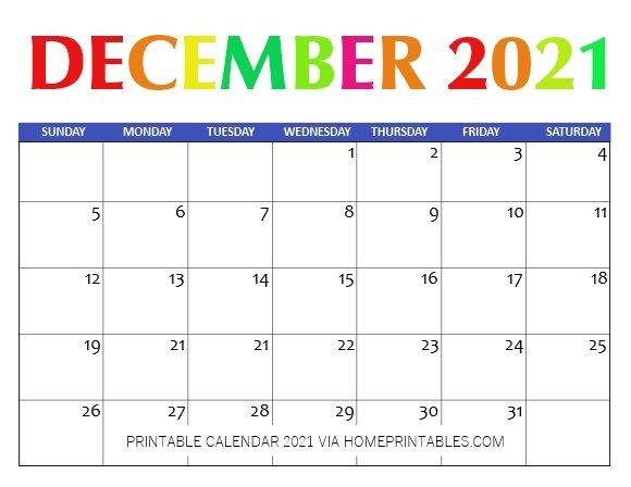 Calendar Printable 2021 December