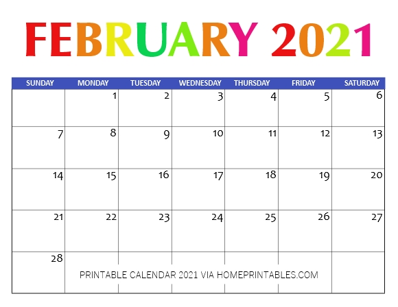 February Calendar 2021 Printable