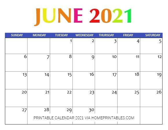 June Calendar 2021