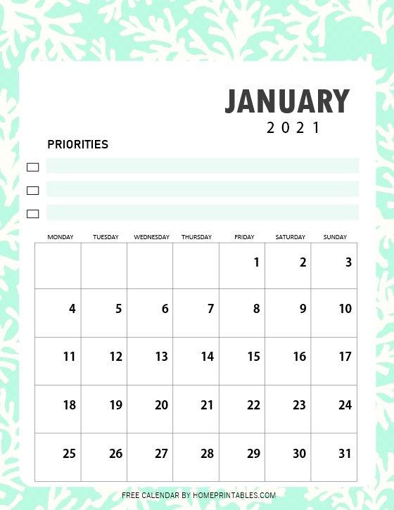 cute January calendar 2021